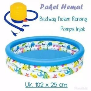 Harga mainan anak paket kolam renang anak bestway ocean 102cm pompa | HARGALOKA.COM