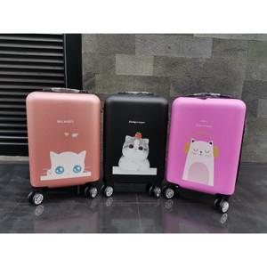 Harga koper kabin murah import ukuran 20 inchi model kucing free mini fan   orange | HARGALOKA.COM