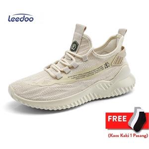 Harga leedoo sepatu sneakers pria sepatu kasual mesh breathable mr119   coklat   HARGALOKA.COM