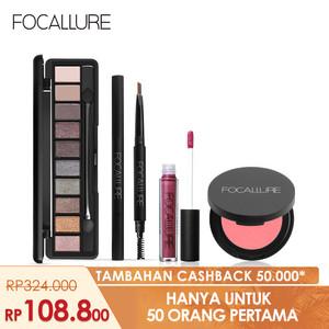 Harga focallure bundle eyeshadow eyebrow pen blusher lipstik matte glitter   paket | HARGALOKA.COM