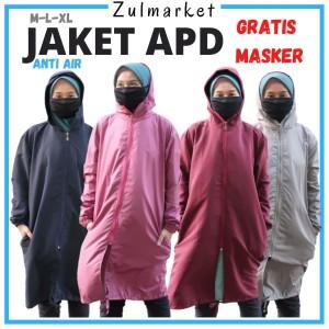 Harga jaket apd wanita anti air panjang bahan parasut kekinian gratis masker   pink | HARGALOKA.COM