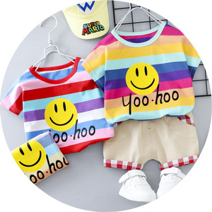 Harga setelan baju kaos icon smile celana pendek anak bayi balita cowok laki   merah size | HARGALOKA.COM