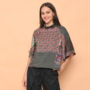 Harga cammomile blouse atasan wanita 1807012sp red corak bunga lengan lebar   yellow v3   HARGALOKA.COM
