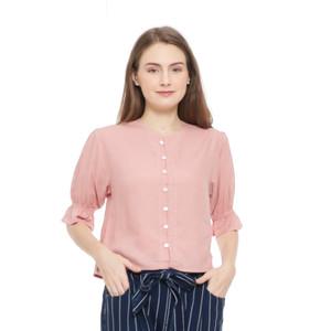 Harga blouse wanita korea aromore raffy shirt   s merah   HARGALOKA.COM