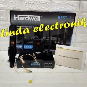 Harga mic wireles hardwell best 1 mic pegang jepit headset oryginal | HARGALOKA.COM