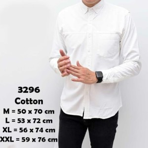 Harga kemeja pria katun putih polos lengan panjang casual kantor kerja pesta   putih | HARGALOKA.COM
