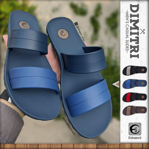 Harga new sandal slide pria full karet kasual   mens slipper   eshajorii   blue | HARGALOKA.COM
