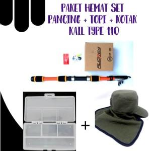 Harga paket set pancing audrey kotak kail type 110 topi   toko | HARGALOKA.COM