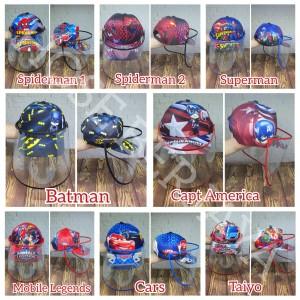 Harga topi anti corona face shield anak   full print character series   | HARGALOKA.COM