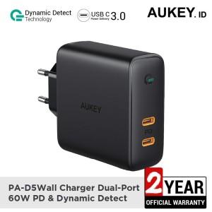 Harga aukey charger pa d5 dual port 60w pd amp dynamic detect   | HARGALOKA.COM