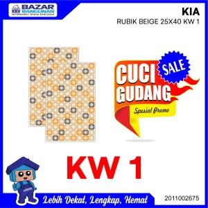 Harga keramik dinding tembok wall tile kia rubik beige 25x40 | HARGALOKA.COM