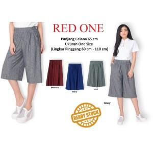 Harga red one celana kulot pendek wanita motif serat kayu celana santai   | HARGALOKA.COM