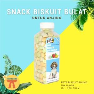 Harga makanan anjing pet8 biskuit bulat 200 gram   snack dog biscuit round   | HARGALOKA.COM