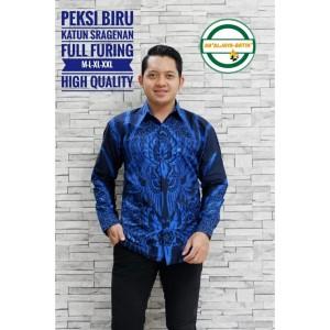 Harga peksi biru kemeja batik pria lengan panjang atasan batik by ab   | HARGALOKA.COM