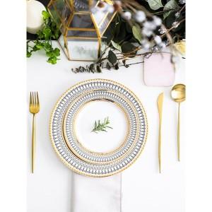 Harga fine dining european set dinner set with gold rim set   HARGALOKA.COM