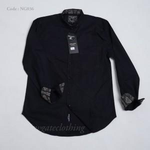 Harga kemeja pria hitam polos lengan panjang premium quality ng036   | HARGALOKA.COM