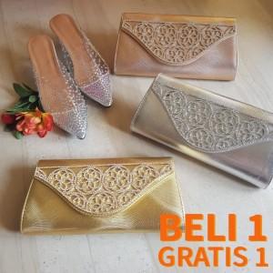 Harga beli 1 gratis 1 tas pesta model dompet rose gold clutch   HARGALOKA.COM