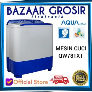 Harga promo murah mesin cuci 2 tabung aqua 7kg qw781xt hijab series   HARGALOKA.COM