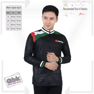 Harga baju koko motif palestina hitam koko kombinasi terbaru koko azzahir   sesuai gambar | HARGALOKA.COM