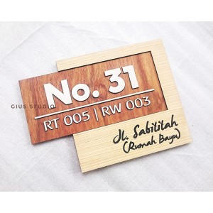 Harga 30x22cm papan alamat amp nomor rumah modern unik kayu bukan | HARGALOKA.COM