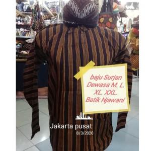 Harga baju surjan dewasa lurik adat jawa gratis blangkon   cokelat | HARGALOKA.COM