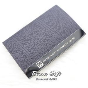 Harga name card holder nc 15 tempat kartu nama kulit stainless bisa custom   coklat putih tanpa | HARGALOKA.COM