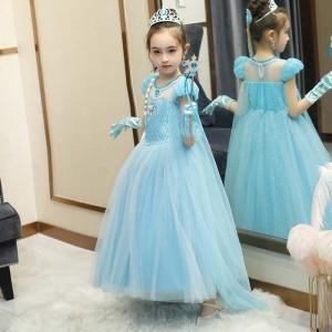 Harga baju dress pesta ulang tahun anak frozen 2 princess elsa elegant h006   biru muda | HARGALOKA.COM
