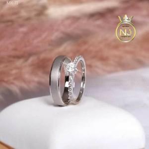 Harga cincin kawin tunangan emas putih 50 dan perak 925 couple  nj   HARGALOKA.COM