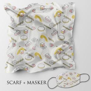 Harga jilbab motif dan masker headloop ukuran 90x90 cm   abstrak | HARGALOKA.COM