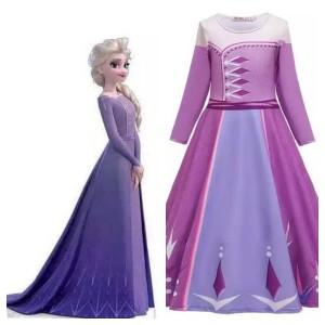 Harga kostum frozen 2 elsa model bahu tertutup baju frozen 2 ungu   | HARGALOKA.COM