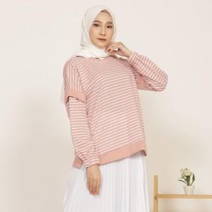 Harga yoenik apparel sheefa ayumi stripe tops dusty m15480   HARGALOKA.COM