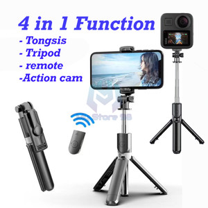 Harga tongsis bluetooth 2 in 1 tripod with remote for phone and action   HARGALOKA.COM