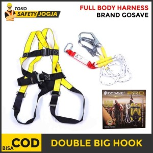 Harga full body harness absorber double lanyard big hook safety belt sabuk     HARGALOKA.COM