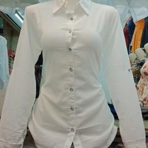 Harga kemeja putih bahan tisu kemeja putih hem putih wanita hem putih cewek   putih | HARGALOKA.COM