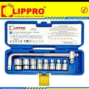 Harga lippro kunci sok set 10 pcs box plastik 6 pt 1 2 dr socket set | HARGALOKA.COM