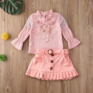 Harga setelan pinky lace rok ripit untuk anak | HARGALOKA.COM