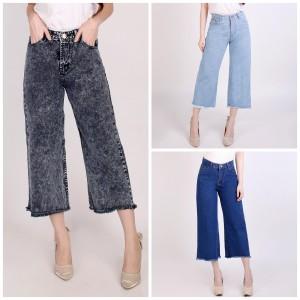 Harga 27 30 celana kulot boyfriend jeans biru rumbai   biru | HARGALOKA.COM