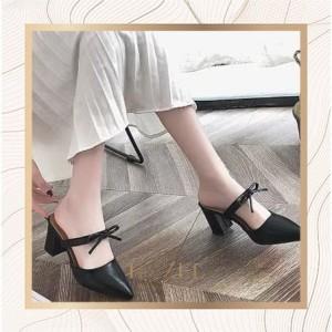 Harga sepatu wanita high heels 5cm hak tahu motif tali hak tinggi tahu baru   hitam | HARGALOKA.COM