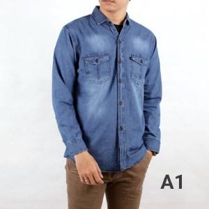 Harga harga special promo kemeja jeans washing pria lengan panjang murah ori   kemeja a1 | HARGALOKA.COM