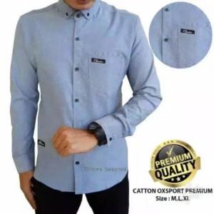 Harga special discount promo baju kemeja polos panjang pria hem distro baru   biru muda | HARGALOKA.COM