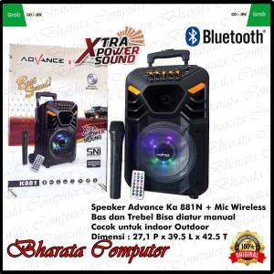 Harga speaker aktif portable advance k881 bluetooth mic wireless bass | HARGALOKA.COM