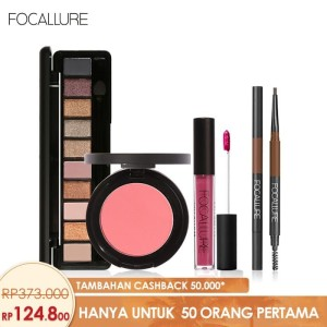 Harga focallure bundle eyeshadow eyebrow brush pen cream blush on lipstik   tanpa | HARGALOKA.COM