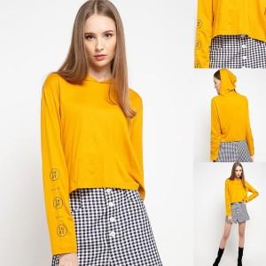 Harga ltc55 kaos crop top hoodie lengan panjang evo arm kuning   | HARGALOKA.COM