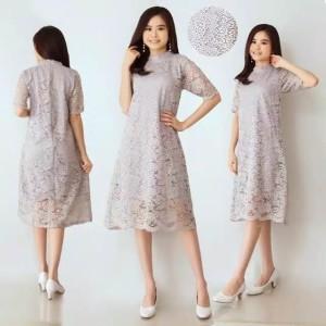 Harga baju wanita skm dress lace brukat tebal | HARGALOKA.COM