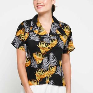 Harga garaf kemeja pastel daun warna baju pantai wanita kemeja hawai cewek     HARGALOKA.COM