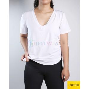 Harga kaos senam forever 21 shirt white v neck   baju olahraga | HARGALOKA.COM