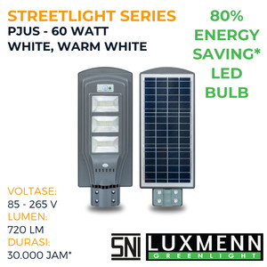 Harga lampu jalan solar w sensor luxmenn led seri pjus 60 w putih amp kuning   | HARGALOKA.COM