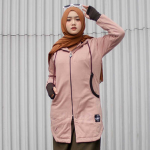 Harga jaket jacket panjang muslimah wanita cewek hijaber hijacket elk brown   | HARGALOKA.COM