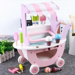 Harga wooden ice cream cart mainan ice cream kayu mainan gerobak ice | HARGALOKA.COM