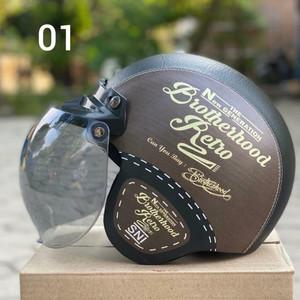 Harga helm bogo retro dewasa kulit motif kaca bubble halfface   | HARGALOKA.COM